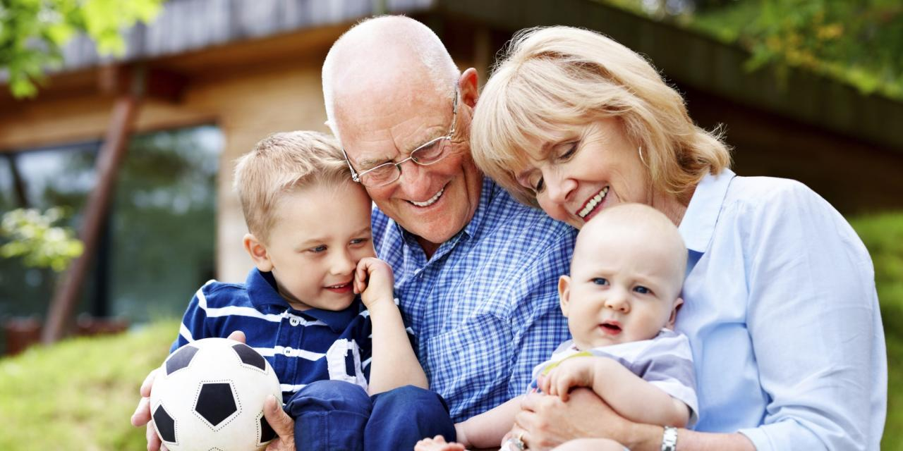 Happy grandparents and grandchildren - Outdoors